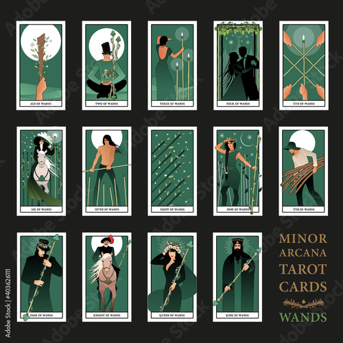 Minor Arcana Tarot cards. Wands From Ace to the figures of the Court. JPG High resolution
