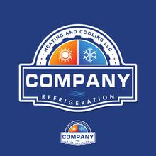 Premium HVAC Logo Design Refrigeration Heating And Cooling Llc Emblem Badge Vintage Retro Style