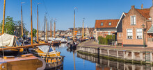 Panorama Of Wooden Ships In The Historic Harbor Of Spakenburg, Netherlands