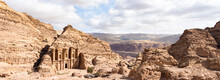 (Selective Focus) Stunning View Of The Ad Deir - Monastery In The Ancient City Of Petra. Petra Is A Unesco World Heritage Site, Historical And Archaeological City In Southern Jordan.