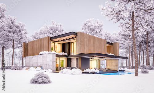 Fototapeta 3d rendering of modern cozy house with parking and pool for sale or rent with wood plank facade and beautiful landscaping on background