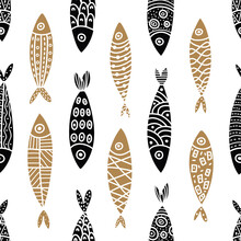 Gold Fish. Cute Vector Line Seamless Pattern. Endless Pattern Can Be Used For Ceramic Tile, Wallpaper, Linoleum, Textile, Web Page Background.