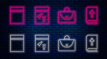 Set Line Evidence Bag And Bullet, Briefcase, Plastic Bag With Ziplock And Holy Bible Book. Glowing Neon Icon On Brick Wall. Vector.
