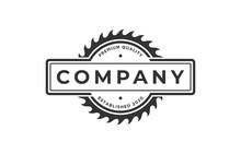 Vintage Logo Circular Saw Emblem Silhouette
