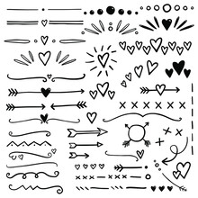 Hand Drawn Hearts And Arrows Dividers. Bullet Journal Web Visual Note Sketch Elements. Isolated Graphic Vector Object Set.