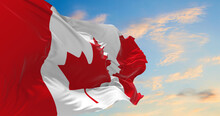 Large Canadian Flag Waving In The Wind