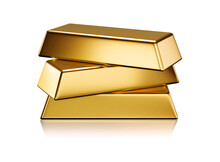 Three Gold Ingots Stack Isolate Is On White Background 3D Rendering