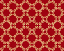 Seamless Vector Gold Pattern On Red Background In Oriental Style. Decorative Ornament For Printing On Wallpaper, Fabrics, Packaging, Ceramic Tiles, Postcards. Texture For Background Design.