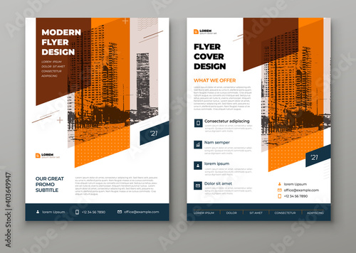 Flyer template layout design. Orange Corporate business flyer mockup. Creative modern vector flier concept with dynamic abstract shapes on background