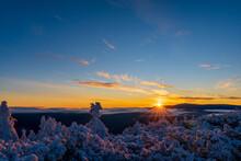 Fantastic Morning Landscape Glowing By Sunlight. Dramatic Wintry Scene. Natural Park. Jeseniky Czech, Europe. Beauty World. Sunrise In Winter Mountain