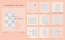Social Media Template Banner Blog Fashion Sale Promotion. Fully Editable Instagram And Facebook Square Post Frame Puzzle Organic Sale Poster. Brown Khaki Beige Vector Background