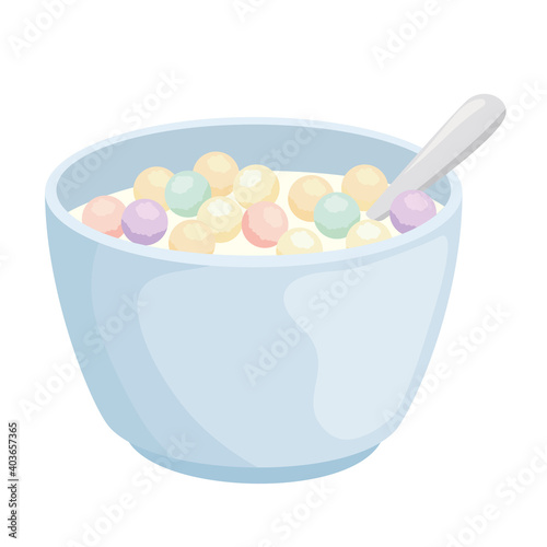 Photo Breakfast cereal bowl with spoon design, food meal and fresh theme Vector illust
