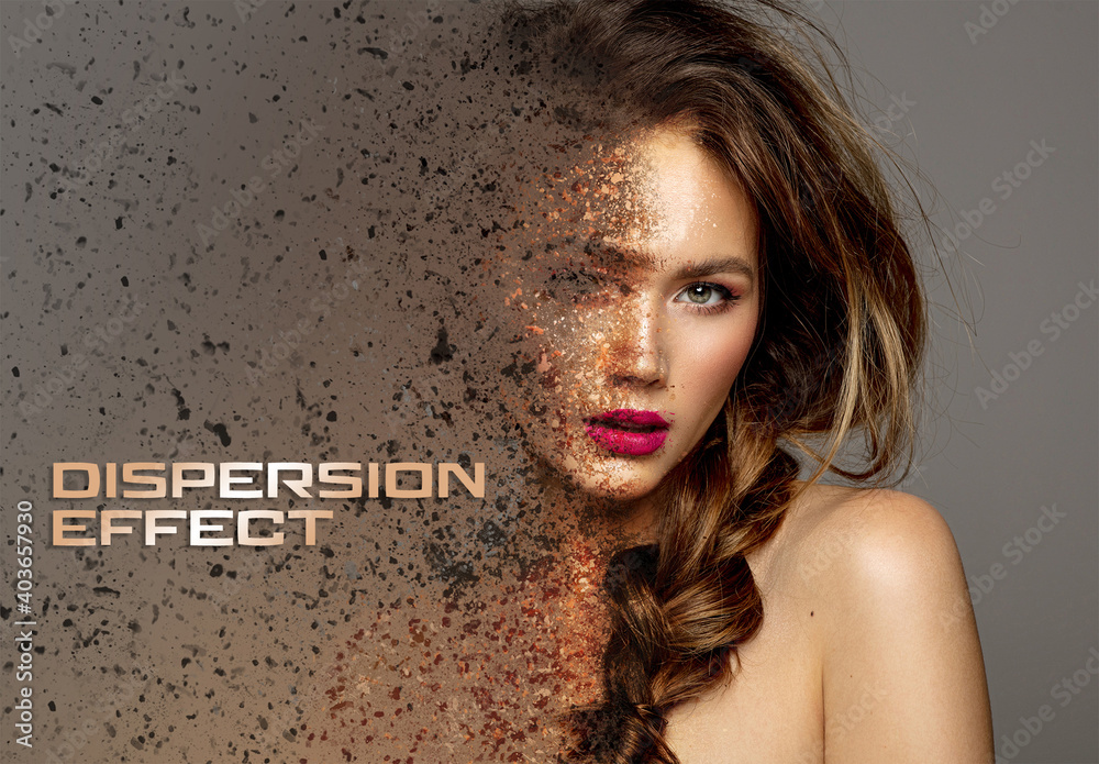 Fototapeta Dispersion Photo Effect with Dust Mockup