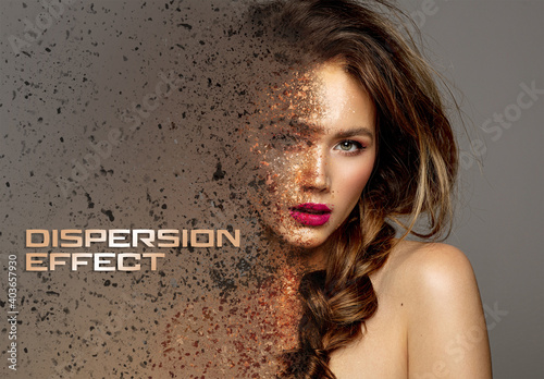 Obraz Dispersion Photo Effect with Dust Mockup - fototapety do salonu