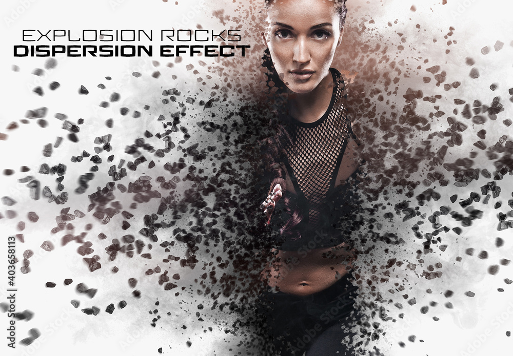 Fototapeta Dispersion Photo Effect with Rock Explosion Mockup
