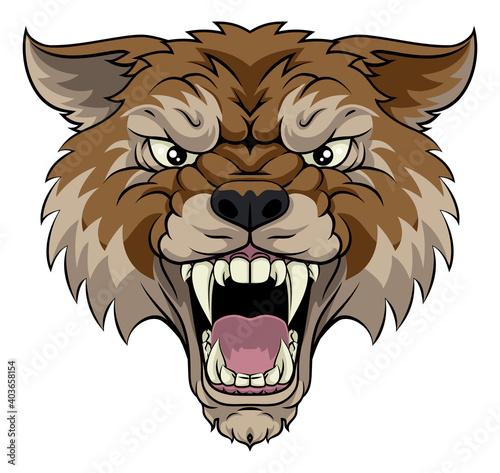 Obraz na plátně A wolf or werewolf angry dog monster scary animal mascot