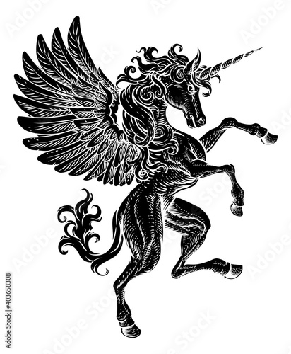 A Pegasus unicorn horse with wings and horn from mythology rearing rampant on its hind legs in a coat of arms crest woodcut style