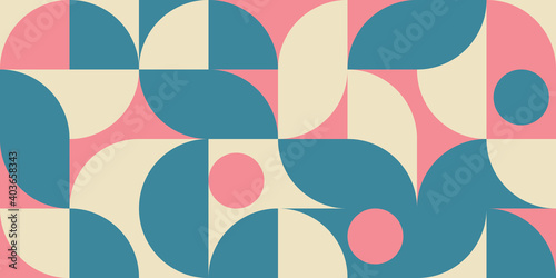 Fototapeta Modern vector abstract  geometric background with circles, rectangles and squares  in retro scandinavian style
