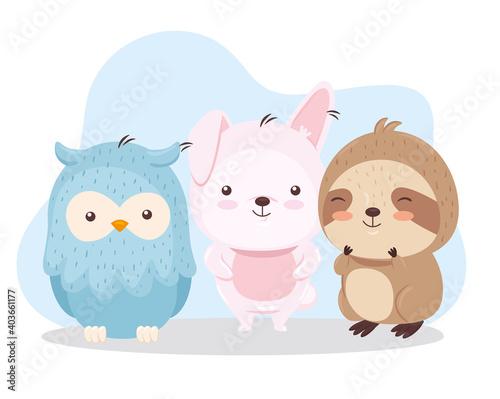 Fototapeta premium Kawaii bird rabbit and sloth bear animal cartoon design, Cute character and nature theme Vector illustration