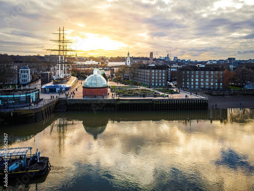 Aerial view of Cutty Sark and Greenwich Pier, London Fotobehang