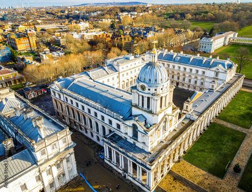 Aerial view of Old Royal Naval College in Greenwich, London Fotobehang