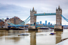 A Long Exposure View Of The Tower Bridge,  A World-famous Symbol Of London