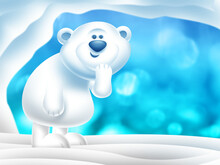 Happy Polar Bear Standing In Snow Near A Cave In The Freezing North Pole With Icy Blue Background Illustration.