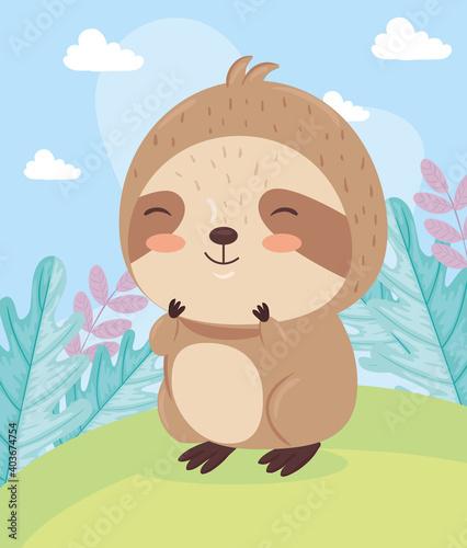 Fototapeta premium Kawaii sloth bear animal cartoon on landscape design, Cute character and nature theme Vector illustration
