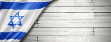 Israeli Flag On Old White Wall Banner