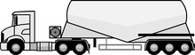 Tractor Unit With V Type Silo Cement Trailer - Silo Trailer - Tractor Unit - Truck - American - Dry Bulk Cement Tank Trailer - Transportation Of Cement - Vector