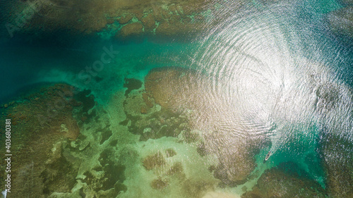 Canvas hermosa vista aerea del archipiélago color azul marino de Colon Panama en Centro