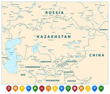 Central Asia Political Map And Colorful Map Pointers