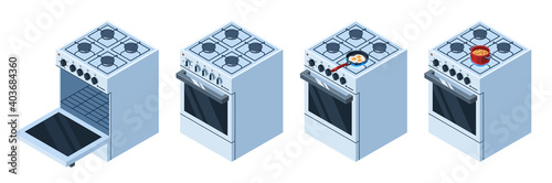 Isometric gas stove with opened oven and cooking food Fototapeta