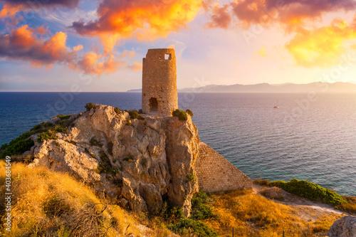 Obraz na plátně Torre del Prezzemolo, an old coastal tower in Cagliari, Sardinia, Italy