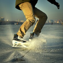 Beautiful Turn-skating On The Frozen River. January. Russia.