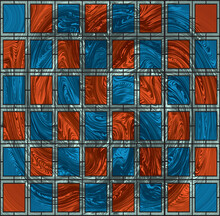 Stained Glass Window. Abstract  Background. Noise Structure With Colored Tiles