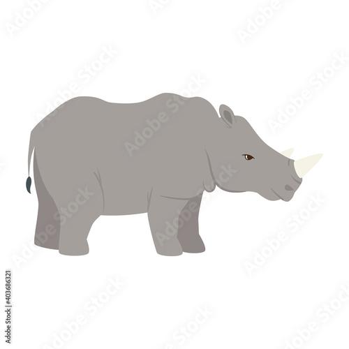 Cuadros en Lienzo rhino african animal wild character vector illustration design