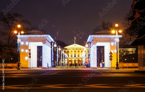 Colonnades of propylaea and the central portico of Smolny in the evening, with New Year decorations Fotobehang