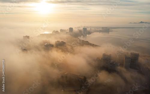 Aerial view La Manga during sunrise. Spain