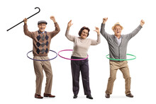 Happy Elderly People Spinning Hula Hoops