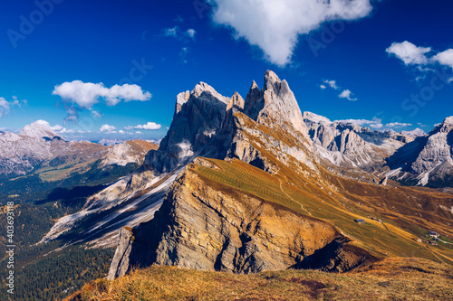 Fotomural Seceda in autumn in South Tyrol in the Alps of North Italy