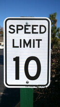 Speed Limit 10 Miles Per Hour Street Sign