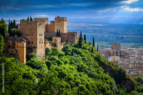 Canvastavla Alhambra arabic fortress overlooking the city and cathedral.