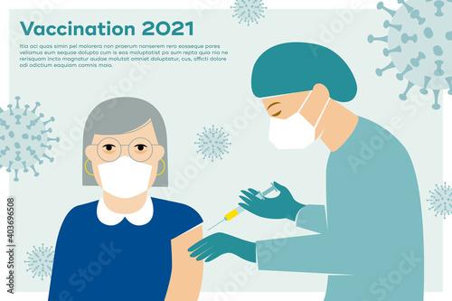 Obraz Impfung gegen Corona, Covid-19, Mediziner mit Mundschutz und Spritze impft ältere Frau  - fototapety do salonu