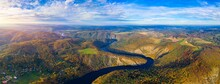 Beautiful View Of Vltava River From Maj Viewpoint. Czech Republic, Krnany, Europe. Maj Viewpoint Next To Prague In Central Bohemia, Czech Republic. Aerial View Of Incredible Vyhlidka Maj.