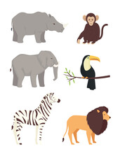 Bundle Of Six Animals Wild Set Icons Vector Illustration Design