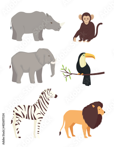 Fototapeta premium bundle of six animals wild set icons vector illustration design