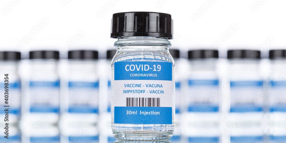 Fototapeta Coronavirus Vaccine bottle Corona Virus COVID-19 Covid vaccines panoramic view