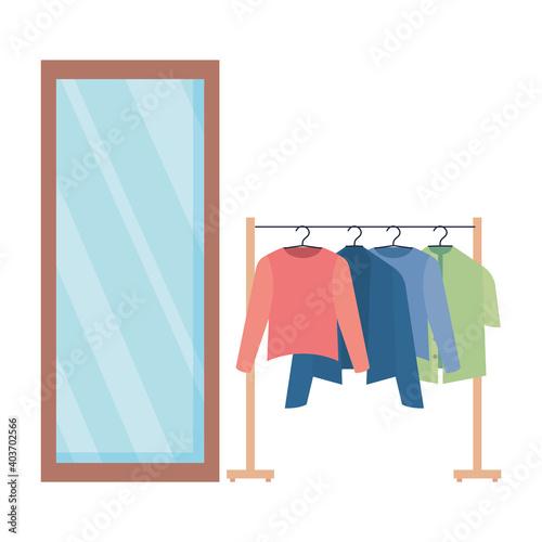 Obraz fashion designer clothes hanging and mirror vector illustration design - fototapety do salonu