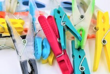 Colorful Plastic Clothespins Or Clothes Pegs.